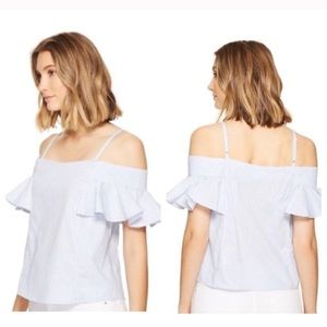 NWT Romeo + Juliet Cold-Shoulder Stripe Top